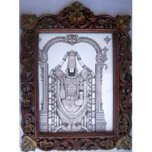 Lord Venkateswara elegant poster painting in wood craft