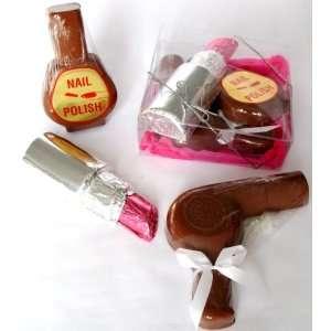 Solid Milk Chocolate Candy Gift Boxed Jumbo Lipstick , Nail Polish
