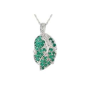 5/8 Carat Emerald & Diamond 14K White Gold Leaf Pendant w