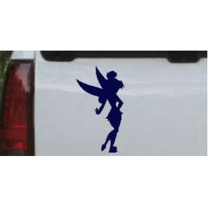 Navy 12in X 6.6in    Sillohette Tinkerbell Cartoons Car Window Wall