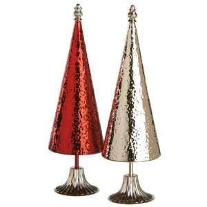 Set of 2 Small Multi Color Table Top Metal Trees 15.25