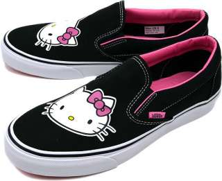VANS MENS CLASSIC SLIP ON HELLO KITTY BLACK CANVAS SHOES UNISEX SIZES