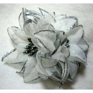 Silver Glitter Flower Hair Clip Pin and Band Beauty