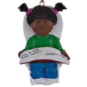 Personalized Ethnic Potty Training Toddler Girl Christmas Ornament