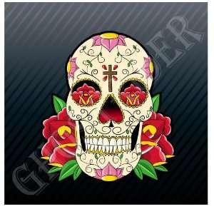 Mexican Sugar Skull Art Car Trucks Sticker Decal