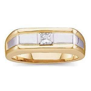 Stylish 0.25 Carat Total Weight Gents Two Tone Diamond Ring set in 14