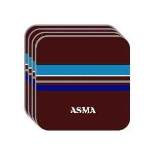 Personal Name Gift   ASMA Set of 4 Mini Mousepad Coasters (blue