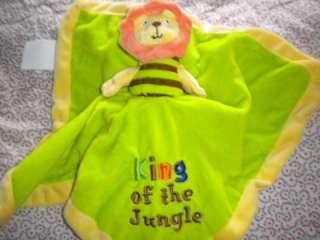 Jungle King Reversible Plush Security Blanket Lovey Lion Monkey Baby