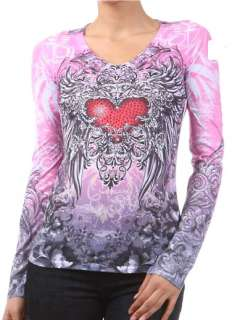 PINK CRYSTAL HEART ANGEL WINGS TATTOO SUBLIMATION T SHIRT & ED HARDY