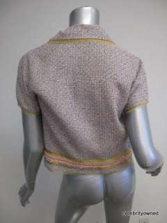 Anna Molinari Multi Color Woven Short Sleeve Yellow/Pink Trim Stone