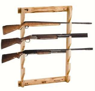 PINE LOG 3 GUN WALL RACK FURNITURE HOLDER LOG CABIN RUSTIC