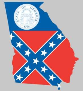 Georgia Shaped Flag Sticker   decal rebel GA state 1776