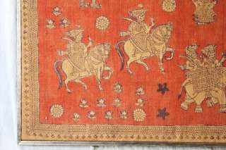 L354 ANTIQUE LARGE INDIAN HAND WOVEN ODHANDI FRAMED ELEPHANTS