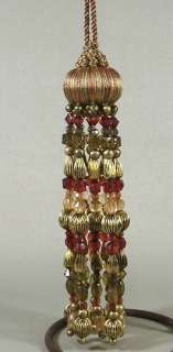 Fabric & Beaded Tassel Christmas Ornament Red Green Gold Arty Imports