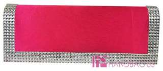 Rhinestone Crystal Evening Bag Prom Party Wedding Clutch Purse Fuschia
