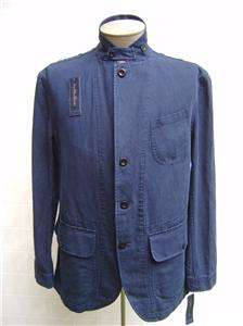 VTG Polo Ralph Lauren Mens Linen Cotton L Coat Jacket Navy Blue Button