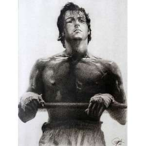 Stallone in Rocky Sketch Portrait, Charcoal Graphite Pencil Drawing
