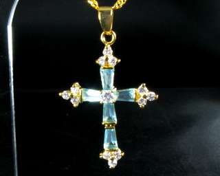 Fashion Jewelry Xmas Gift Aquamarine Topaz Yellow Gold GP Pendant