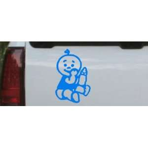 Blue 24in X 16.1in    Baby With Bottle Car Window Wall Laptop Decal