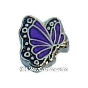 Butterfly Birthstone February Floating Locket Charm Jewelry
