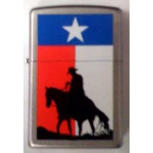 Custom Lighter   Cowboy w/ Texas Flag Lone Star