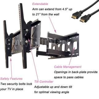 ARTICULATING DUAL ARM SWIVEL TILT LCD LED TV WALL MOUNT 37 42 47 50 55