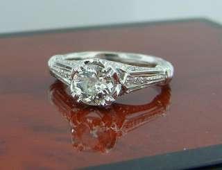 Old European Diamond Ring Antique Art Deco Style 14k White Gold 1