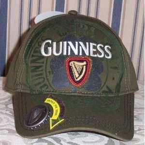 Breweriana GUINNESS Beer Bottle Opener Olive Baseball Cap HAT Adult