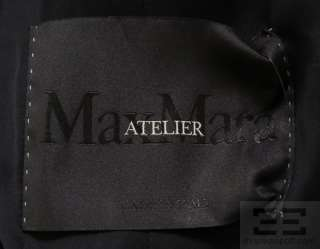 Max Mara Atelier Black Cashmere Belted Full Length Coat Size 6