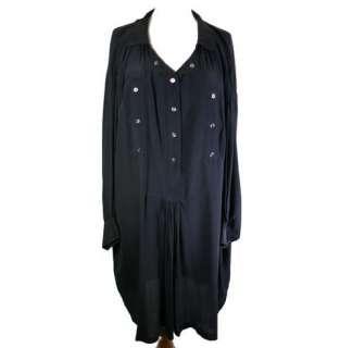 Isabel Marant Etoile Black Washed Silk Oversize Shirt Dress