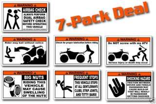 Pack ATV Funny Redneck Warning Stickers winch snorkel