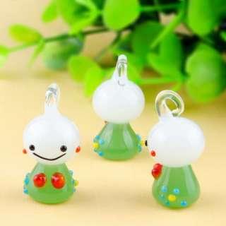 Cute 12pcs Green W28176 Lampwork Glass Pendant