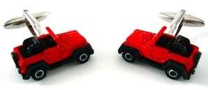 Red Diecast Jeep Car Truck Auto Cufflinks W/Gift Box