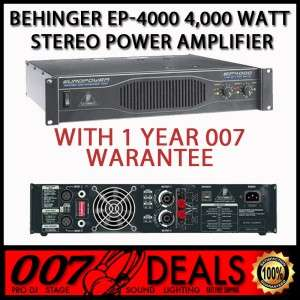 BEHRINGER EP4000 W/ 1 YEAR WARRANTY 4000W DJ POWER AMPLIFIER AMP EP