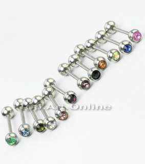 Rhinestone Crystal Tongue Bars Rings Tounge Barbell Piercing