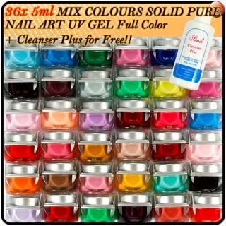 36 X Mix Colors Nail Art Tips Solid Pure UV Builder Gel Kit+Cleanser