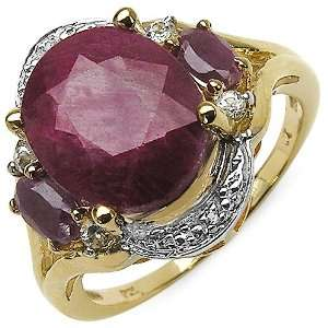 Genuine Dyed Ruby and White Topaz Gemstone Gold Plated Sterling Silver