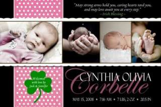Irish Blessing Shamrock Clover Baby Birth Announcement