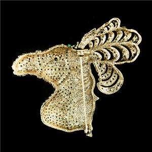 Luxury Steed Horse Brooch Pin Topaz Swarovski Crystal Animal Head