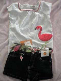 Gymboree NWT NWOT Palm Beach Paradise Flamingo Top & Adj Waist Shorts