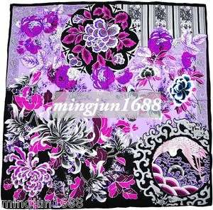 Beautiful Flower 100% SILK TWILL Scarf Headband Black Purple Fashion