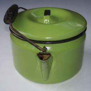 ENAMELWARE TEA POT KETTLE with WIRE BAIL Olive Green with Black Trim