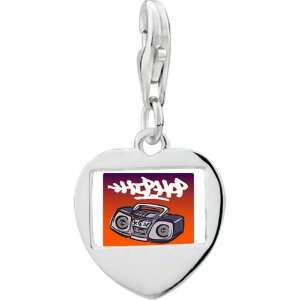 Silver Gold Plated Music Hip Hop Recorder Photo Heart Frame Charm