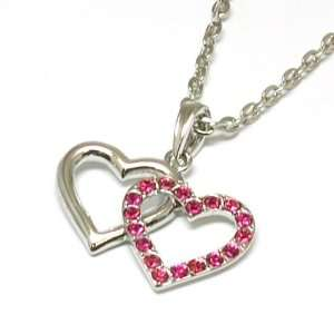 Double Heart Pink Crystal Necklace on 16 Chain By TOC Jewelry