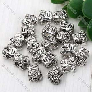 20x Tibetan Silver Cat Dog European Charm Beads 10*12mm