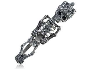 Unique Antique Inspired Three Ring Clear Crystal Rhinestones Skeleton