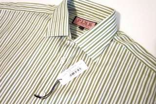 THOMAS PINK green & white stripe dress shirt 15.5 NWT