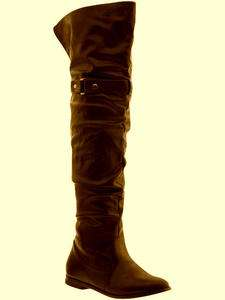 Womens NEW Elliot Brown Faux Leather Thigh High Buckle Boots 7 M