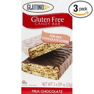Glutino Milk Chocolate Candy Bars, 5 x 0.9 Ounces Boxes (Pack of 3