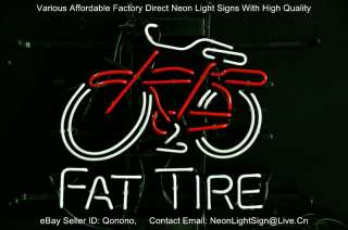 FAT TIRE BICYCLE BIKE PUB LOGO BEER BAR REAL NEON LIGHT SIGN XMAS GIFT